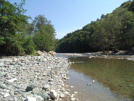 Abkhazia, Kamana, River, Gumista, Stones, Mountains