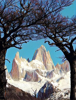 Argentina, Mountains, Snow, Trees, Outdoors, Scenic