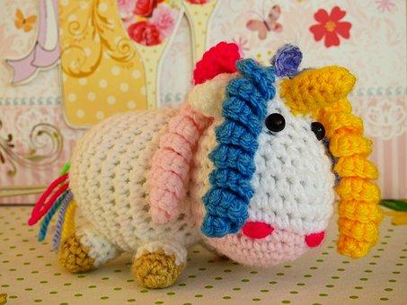 Unicorn, Knit, Wool, Fabric, Stuffed Animal, Hand Labor
