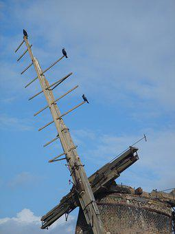 Windmill, Derelict, Mill, Architecture, Wooden