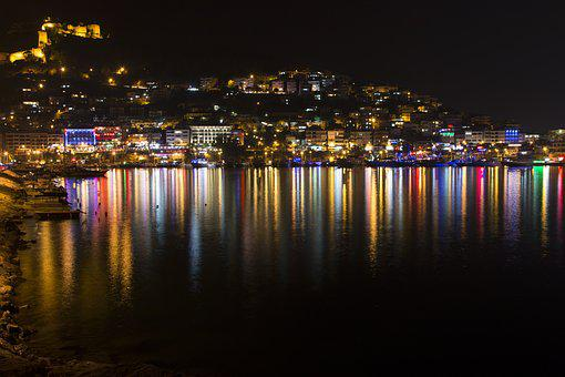 Alanya, Antalya, Alanya Castle, Reflection, Night
