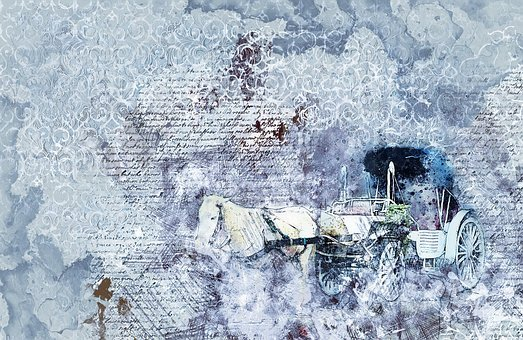 Horse, Carriage Ride, Art, Abstract, Watercolor, Animal