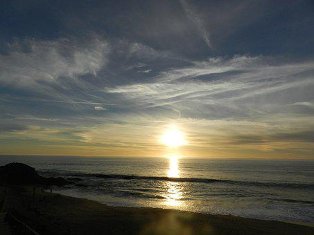 Ocean, Sun Set, Beach