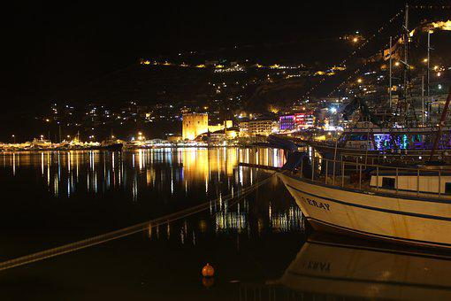 Alanya, Night, Antalya, Turkey, Blue, Marine