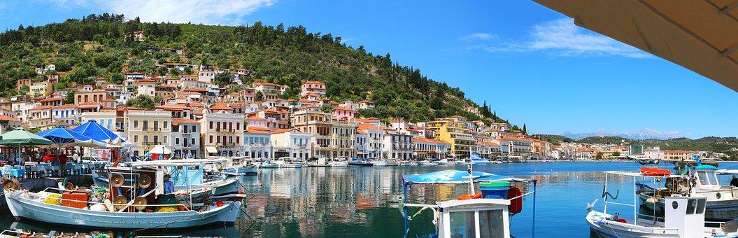 Port, Greece, Githio, Boot, Water, Ship, Sea, Sea View