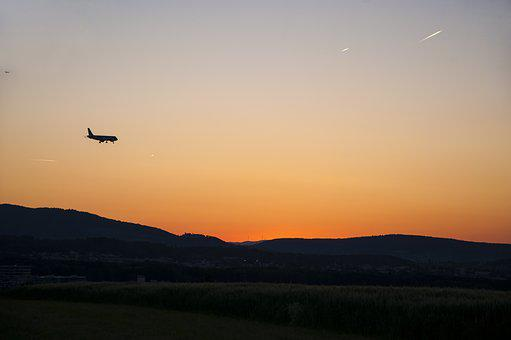 Twilight, Aircraft, Country Flight, Landing, Fly