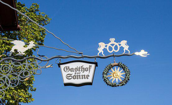 Guild Sign, Note, Guest House Shield, To The Sun, Beer