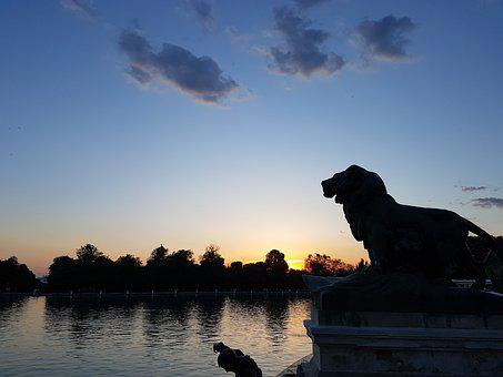 Sunset, Lake, Statue, Trasluz, Highlights, Landscape