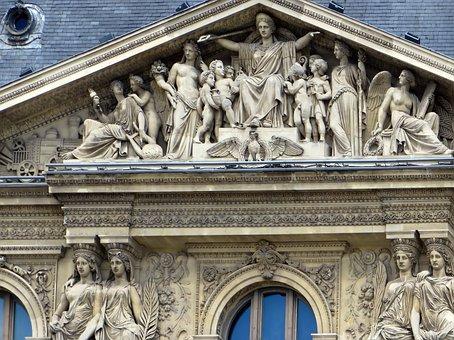 Paris, The Louvre, Pediment, Statues, Museum