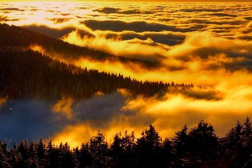 Czech Republic, Landscape, Scenic, Silhouettes, Sunrise