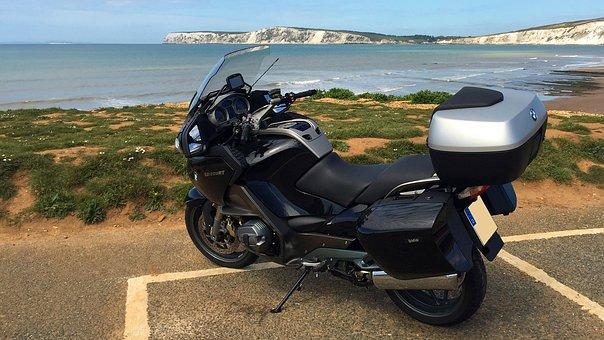 Motorcycle, England, Coast, Bmw, Sea, Water