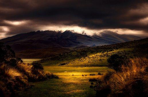 Sunset, Dusk, Landscape, Mountains, Snow, Sky, Clouds