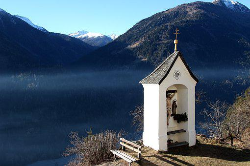 Cross, Fog, Blue, Mountains, Snow, Small Chapel