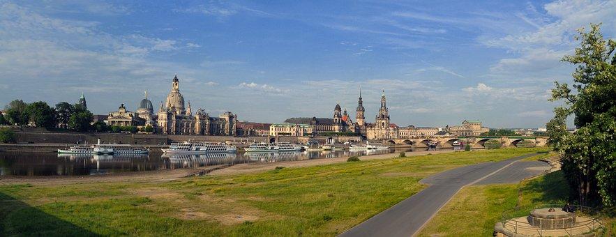 Dresden, Elbe, Panorama, Saxony, River, Steamer