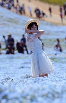 Japanese, Doll, Flower, White Dress