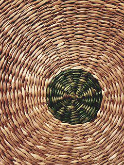 Wicker, Basket, With Central, Wicker Basket, Natural