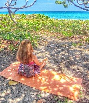 Meditating, Sea, Yoga, Beach, Health, Woman, Relax