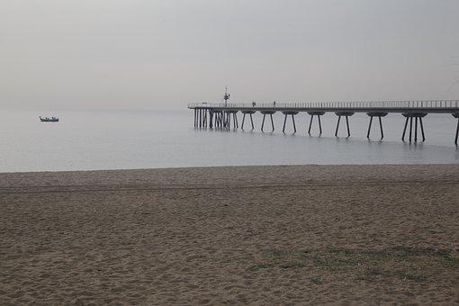 Spring, Badalona, Sand, Sea