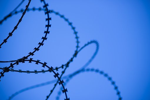 Blue, Abstract, Wire, Barbed Wire, Razor, Sharp, Engel