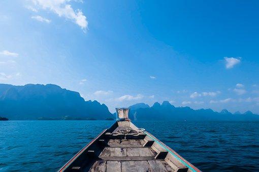 Dam, Water, Boat, Wood, Cloud, Mountain, Blue