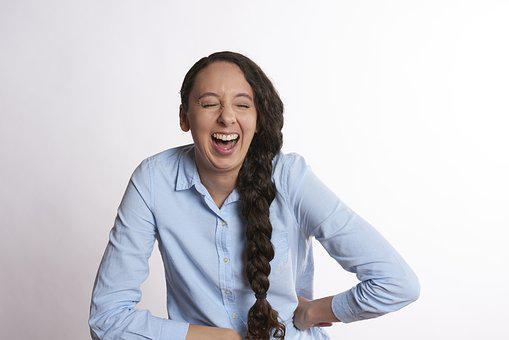 Hilarious, Woman, Laughing, Female, Smile, Happy, Young