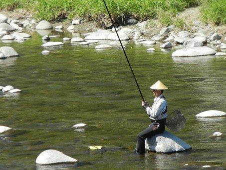 Japanese Fisherman, Fishing, River Fishing, Japan