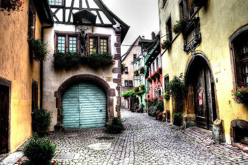 Half-timbered House, Timber-framed, French, Village