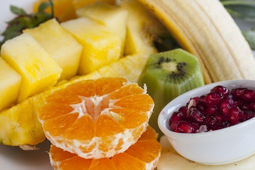 Fruit, Pineapple, Pomegranate, Banana, Tangerine