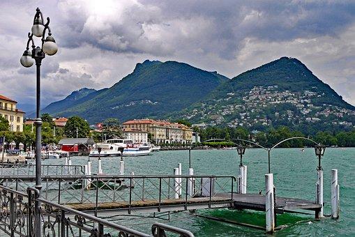 Switzerland, Lugano, Lake Promenade, Center, Investors