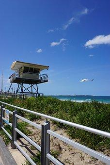 Beach, Lifeguard, House, Ocean, Cronulla, Nature