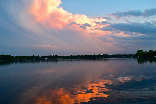 Sunset, Clouds, Puffy, Sky, Reflection, Water, Nature
