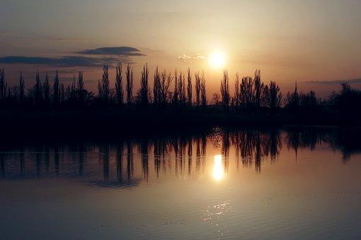 Nature, Sunset, Reflection, Mirror, Silence, Water