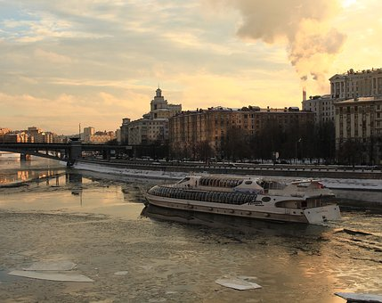 Sunset, River, Moscow, Boat, Water, Sky, Blue, Nature