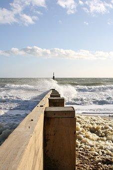 Beach, Break Water, Ocean, Sea, Wave, Hengistbury Head
