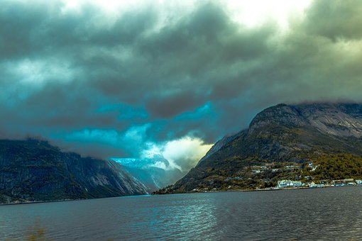 Mountains, Norway, Nature, View, Sea, Landscape, Clouds