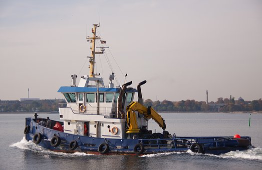 Tug-boat, Ship, Ocean, Harbour, Work, Sea, Crane