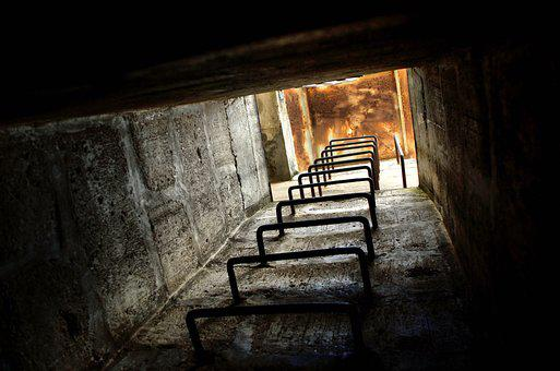 Bunker, Stairs, Upward, Building, Architecture