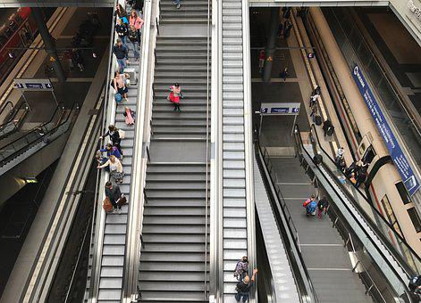 Escalator, Stairs, Train, Architecture
