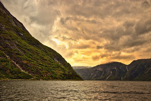 Mountains, Norway, View, Nature, Sea, Landscape, Clouds