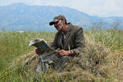 Adult, Man, To Read, Newspaper, Hay, Field, Mountain