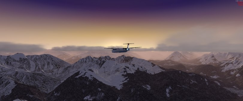 Alpine, Aircraft, Dash Q400, Sunset