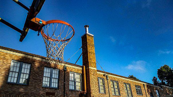 School, Hoop, Basketball, Blue School, Blue Basketball