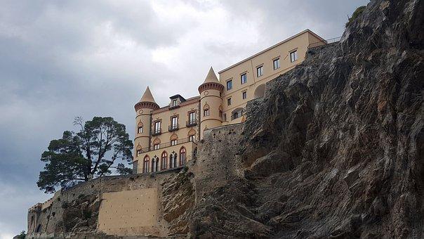 Castle, Maiori, Amalfi Coast, Sea, Campania, Beach
