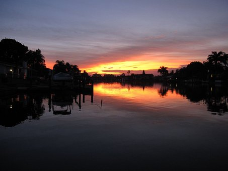 Florida, Cape Coral, Channel, Sunset