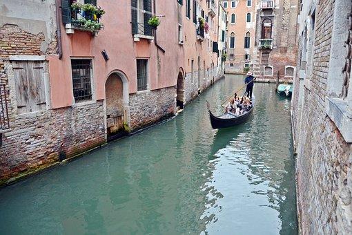 Venice, Gondola, Water, Gondolas, Channel, Sea, Italy