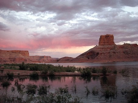 Lake Powell, Cookie Jar Butte, Butte, Sunset, Lake