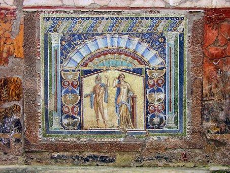 Herculaneum, Mosaic, Ancient, Italy, Roman, Excavation