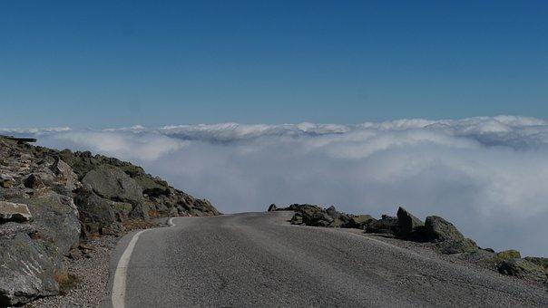 Mtwashington, Mountain, Clouds, America, Road, View
