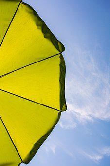 Parasol, Sun Protection, Blue Sky, Summer, Holiday, Sky
