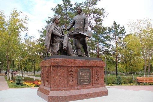 Pavlodar, Monument, Valikhanov, Potanin